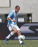 Argentina defender Pablo Zabaleta (4) touch pass. In an international friendly (Clash of Titans), Argentina defeated Brazil, 4-3, at MetLife Stadium on June 9, 2012.