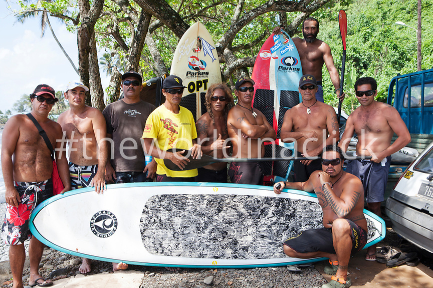 FRENCH POLYNESIA, Tahiti. Local surfers at Papenoo Beach.