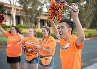 Members of the O-Team work hard to welcome incoming Occidental College students, the class of 2020, during Orientation, Aug. 25, 2016.<br /> (Photo by Marc Campos, Occidental College Photographer)