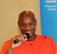 Asafa Powell at the Samsung Diamond League press conference, Pullman Hotel. Paris,France Thursday, July  15, 2010. photo by Errol Anderson.