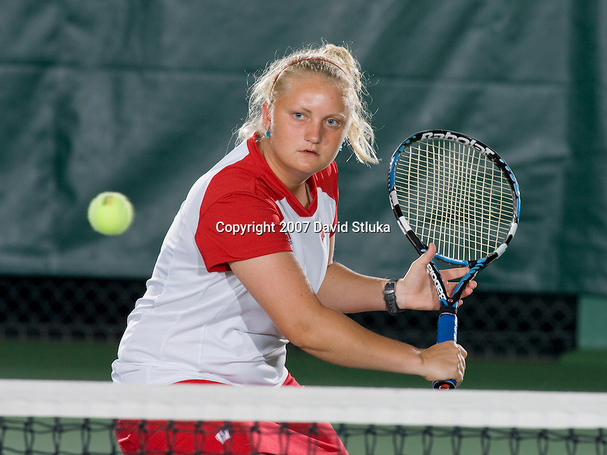 MADISON, WI - SEPTEMBER 25: Chelsea Nusslock of the 2007-08 Wisconsin Badgers women's tennis team. (Photo by David Stluka)