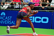 Washington, DC - July 25, 2018:  Venus Williams of the Washington Kastles returns a shot during her Women's Singles match against Naomi Broady of the San Diego Aviators July 25, 2018.  (Photo by Don Baxter/Media Images International)