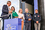 Prize giving party on the podium at the end of Stage 1 of the 2018 Artic Race of Norway, running 184km from Vadso to Kirkenes, Norway. 16th August 2018. <br /> <br /> Picture: ASO/Gautier Demouveaux | Cyclefile<br /> All photos usage must carry mandatory copyright credit (&copy; Cyclefile | ASO/Gautier Demouveaux)