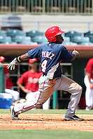 Washington Nationals outfielder Eury Perez #4 during an Instructional League game against the Houston Astros at Osceola County Stadium on September 26, 2011 in Kissimmee, Florida.  (Mike Janes/Four Seam Images)