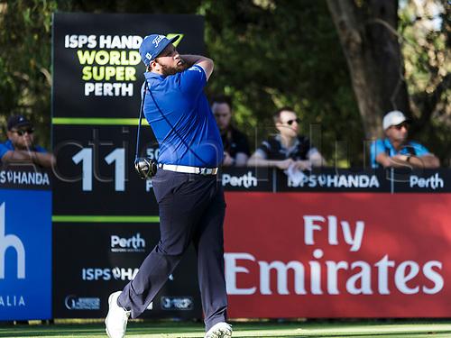 8th February 2018, Lake Karrinyup Country Club, Karrinyup, Australia; ISPS HANDA World Super 6 Golf Perth, first round; Andrew Johnston (ENG) tees off