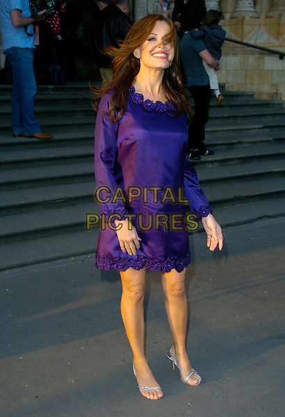 "MELINDA MESSENGER.""Night At The Museum"" DVD Launch Party at The Natural History Museum, London, England, 1st April 2007..full length purple dress flower trim silver strappy sandals shoes.CAP/CAN.©Can Nguyen/Capital Pictures"