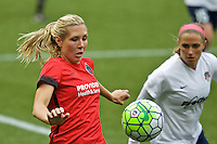 Portland, OR - Saturday, May 21, 2016: Portland Thorns FC midfielder Allie Long (10) and Washington Spirit defender Shelina Zardorsky (6). The Portland Thorns FC defeated the Washington Spirit 4-1 during a regular season National Women's Soccer League (NWSL) match at Providence Park.