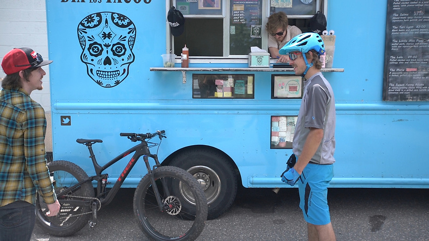 VIDEO FRAME GRAB--Hitting up the Dia de Los Tacos food truck while mountain biking in Marquette, Michigan