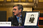 © Joel Goodman - 07973 332324 . 02/10/2017. Manchester, UK. JACOB REES-MOGG and a framed portrait of Margaret Thatcher , at a fringe , right-wing Bruges Group event at Manchester Town Hall during the second day of the Conservative Party Conference at the Manchester Central Convention Centre . Photo credit : Joel Goodman