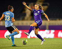 Orlando, FL - Saturday September 10, 2016: Erin Simon, Alex Morgan during a regular season National Women's Soccer League (NWSL) match between the Orlando Pride and Sky Blue FC at Camping World Stadium.