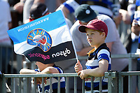 A general view of a young Bath Rugby supporter. Aviva Premiership match, between Bath Rugby and London Irish on May 5, 2018 at the Recreation Ground in Bath, England. Photo by: Patrick Khachfe / Onside Images