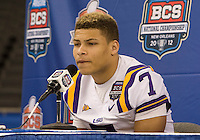 Tyrann Mathieu of LSU talks with the reporters during BCS Media Day at Mercedes-Benz Superdome in New Orleans, Louisiana on January 6th, 2012.