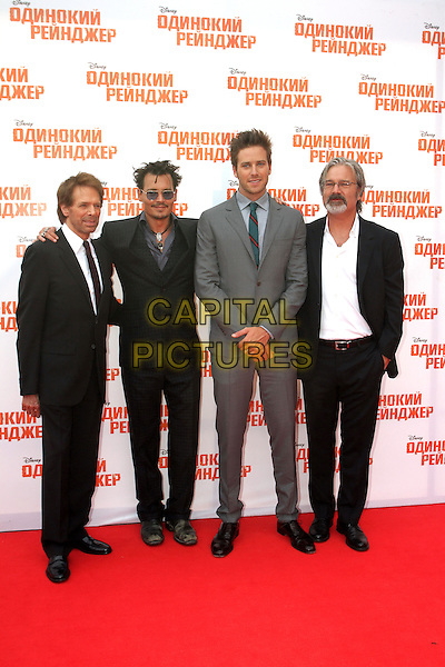 Jerry Bruckheimer, Johnny Depp, Armie Hammer, Gore Verbinski<br /> 'The Lone Ranger' Russian Film Premiere, Moscow, <br /> Russia, June 27th 2013.<br /> full length  grey gray sunglasses blue tinted glasses shirt suit black green white <br /> CAP/PER/VT<br /> &copy;VT/PersonaStars/CapitalPictures