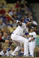 Andre Ethier #16 of the Los Angeles Dodgers bats against the Atlanta Braves at Dodger Stadium on April 24, 2012 in Los Angeles,California. Los Angeles defeated Baltimore 6-3.(Larry Goren/Four Seam Images)