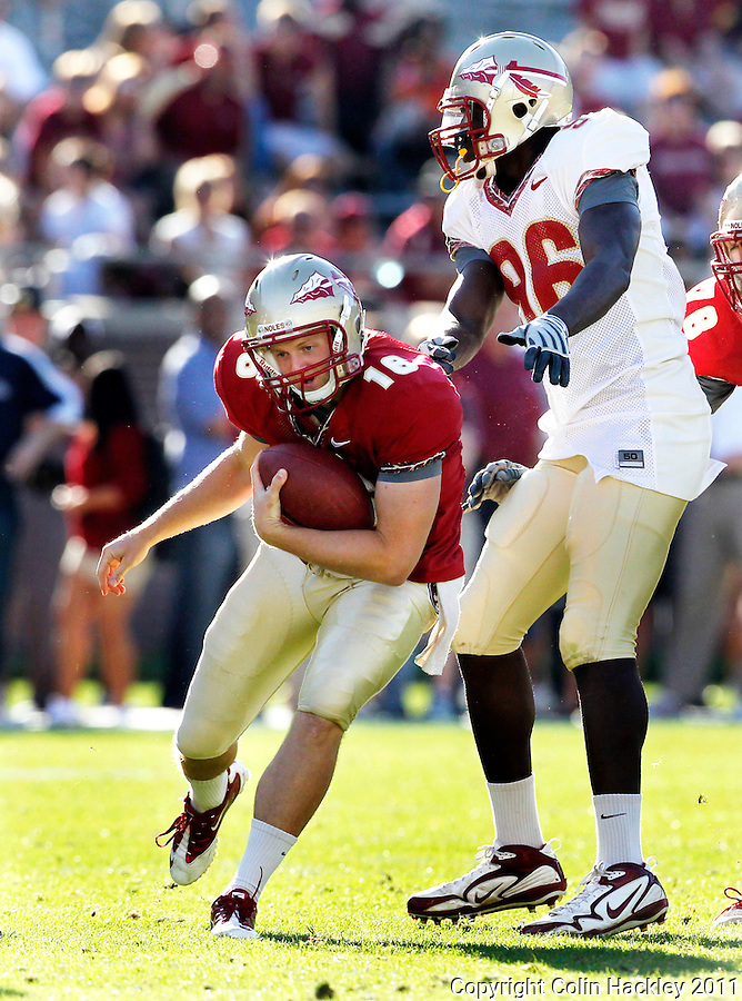 TALLAHASSEE, FLA. 4/16/11-FSUG&G041611 CH-Garnet quarterback Will Secord is sacked by Gold's Toshmon Stevens during second half action in the Florida State University Garnet and Gold game Saturday in Tallahassee. Garnet beat Gold 19-17..COLIN HACKLEY PHOTO