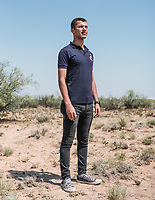 Mohamed Hamada from the Military Technical College in Egypt at the Spaceport America Cup near the town of Truth or Consequences, New Mexico, Saturday, June 24, 2017. The International Intercollegiate Rocket Engineering Competition hosted over 110 teams from colleges and universities in eleven countries. Students launched solid, liquid, and hybrid rockets to target altitudes of 10,000 and 30,000 feet. The 2017 Spaceport America Cup winner was the University of Michigan, Ann Arbor, Team 79.<br /> <br /> Photo by Matt Nager