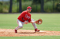 GCL Phillies first baseman Quincy Nieporte (33) receives a throw during a game against the GCL Tigers East on July 25, 2017 at TigerTown in Lakeland, Florida.  GCL Phillies defeated the GCL Tigers East 4-1.  (Mike Janes/Four Seam Images)