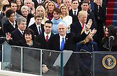 Vice President Mike Pence waves after taking the Oath of Office from Justice Clarance Thomas at the inauguration on January 20, 2017 in Washington, D.C.  Donald Trump became the 45th President of the United States.       <br /> Credit: Pat Benic / Pool via CNP