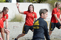 20180302 - LARNACA , CYPRUS :  Belgian Diede Lemey pictured during a Muscular warm up training session on the beach before a women's soccer game between The Belgian Red Flames and Spain , on friday 2 March 2018 on the CTO Beach in Larnaca , Cyprus . The game will be the second game in group B for Belgium during the Cyprus Womens Cup , a prestigious women soccer tournament as a preparation on the World Cup 2019 qualification duels. PHOTO SPORTPIX.BE | DAVID CATRY