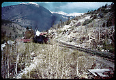 &quot;53-1 first cut of cars on the upper level. Engine and second cut coming up the switchback. Garfield, CO.&quot;<br /> D&amp;RGW  Garfield, CO  Taken by LeMassena, Robert A. - 6/1975