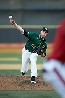 Wake Forest Demon Deacons relief pitcher Shane Muntz (11) delivers a pitch to the plate against the Louisville Cardinals at David F. Couch Ballpark on March 17, 2018 in  Winston-Salem, North Carolina.  The Cardinals defeated the Demon Deacons 11-6.  (Brian Westerholt/Four Seam Images)