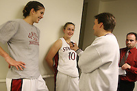 2 November 2006: Stanford Cardinal Brooke Smith (left), Stanford Cardinal JJ Hones (center), and The Bootleg reporter Mike Eubanks during Stanford's 103-57 win against Chico State Wildcats at Maples Pavilion in Stanford, CA. SID Brian Risso is in the backround.