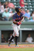 Shortstop Yeudi Grullon (9) of the Rome Braves bats in a game against the Greenville Drive on Wednesday, May 31, 2017, at Fluor Field at the West End in Greenville, South Carolina. Greenville won, 7-1. (Tom Priddy/Four Seam Images)