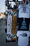 Commemorative scarves and souvenirs on sale at a stall outside the ground on Tottenham High Road before Tottenham Hotspur took on Watford in an English Premier League match at White Hart Lane. Spurs were due to make an announcement in April 2016 regarding when they would move out of their historic home and relocate to Wembley as their new stadium was completed. Spurs won this match 4-0 watched by a crowd of 31,706, a reduced attendance figure due to the ongoing ground redevelopment.