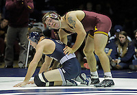 STATE COLLEGE, PA - JANUARY 25: Nick Dardanes of the Minnesota Golden Gophers and Kade Moss of the Penn State Nittany Lions during their match on January 25, 2015 at Recreation Hall on the campus of Penn State University in State College, Pennsylvania. Minnesota won 17-16. (Photo by Hunter Martin/Getty Images) *** Local Caption *** Nick Dardanes;Kade Moss