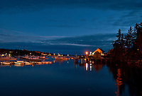 Bass Harbor at night, Bernard, Maine, ME, USA