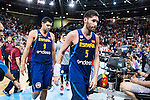 Spain's basketball player Felipe Reyes and Rudy Fernandez during the  match of the preparation for the Rio Olympic Game at Madrid Arena. July 23, 2016. (ALTERPHOTOS/BorjaB.Hojas)