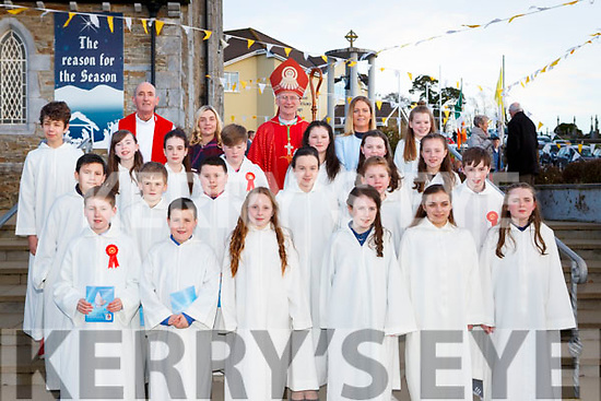 Pupils from Gneeveguilla NS with Bishop Ray Browne, Geraldine Shanahan Principal and Ms Sharon Twomey teacher  at their Confirmation in St Josephs church Rathmore on Tuesday