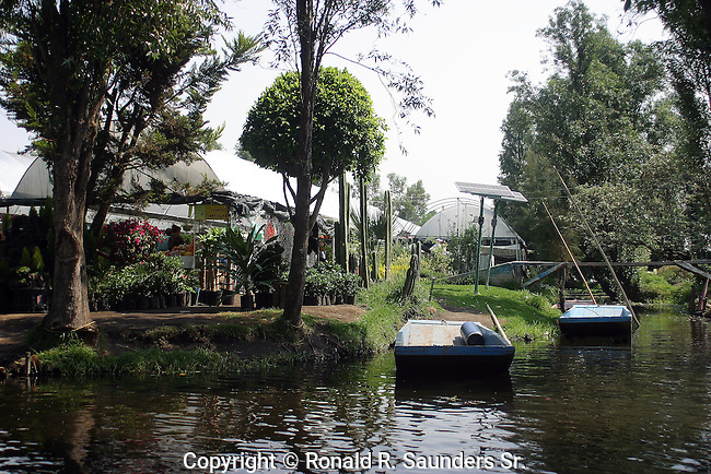 FLOWER SHOP ON CANAL IN XOCHIMILCO MEXICO