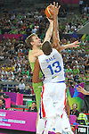 06.09.2014. Barcelona, Spain. 2014 FIBA Basketball World Cup, round of 16. Picture show Z. Dragic and E. Baez  in action during game between Dominican Republic  v Slovenia  at Palau St. Jordi