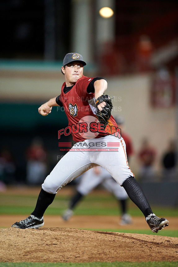 Altoona Curve pitcher Mike Colla #34 during an Eastern League game against the Erie Seawolves at Jerry Uht Park on August 31, 2012 in Erie, Pennsylvania.  Altoona defeated Erie 4-3.  (Mike Janes/Four Seam Images)