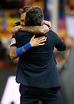 FC Barcelona's coach Luis Enrique Martinez and Neymar Santos Jr celebrates the victory in the Spanish Kings Cup Final match. May 22,2016. (ALTERPHOTOS/Acero)