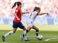 PARIS,  - JUNE 16: Camila Saez #18 defends Mallory Pugh #2 during a game between Chile and USWNT at Parc des Princes on June 16, 2019 in Paris, France.