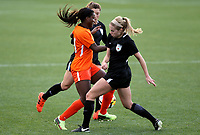 Portland, OR - Wednesday March 14, 2018: Nichelle Prince, Megan Buckingham, Sofia Huerta during a National Women's Soccer League (NWSL) pre season match between the Houston Dash and the Chicago Red Stars at Merlo Field.