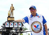 Jun. 2, 2013; Englishtown, NJ, USA: NHRA pro mod driver Mike Janis celebrates after winning the Summer Nationals at Raceway Park. Mandatory Credit: Mark J. Rebilas-