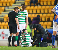 29th January 2020; McDairmid Park, Perth, Perth and Kinross, Scotland; Scottish Premiership Football, St Johnstone versus Celtic; Mikey Johnston of Celtic is looked at by physio Tim Williamson