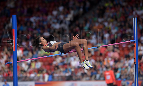 17.08.2014. Zurich, Switzerland. European Athletics Championships 2014 at the Letzigrund stadium in Zurich, Switzerland. Marie Marie-Laurence Jungfleisch ger fails at her attempt 6 in the High jump Final for women