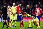 Diego Costa of Atletico de Madrid (L) gestures for Gerard Pique of FC Barcelona (R) during the La Liga 2018-19 match between Atletico Madrid and FC Barcelona at Wanda Metropolitano on November 24 2018 in Madrid, Spain. Photo by Diego Souto / Power Sport Images