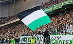 Stockholm 2014-09-21 Fotboll Superettan Hammarby IF - Syrianska FC :  <br /> Hammarbys supportrar med en flagga<br /> (Foto: Kenta J&ouml;nsson) Nyckelord:  Superettan Tele2 Arena Hammarby HIF Bajen Syrianska FC SFC supporter fans publik supporters