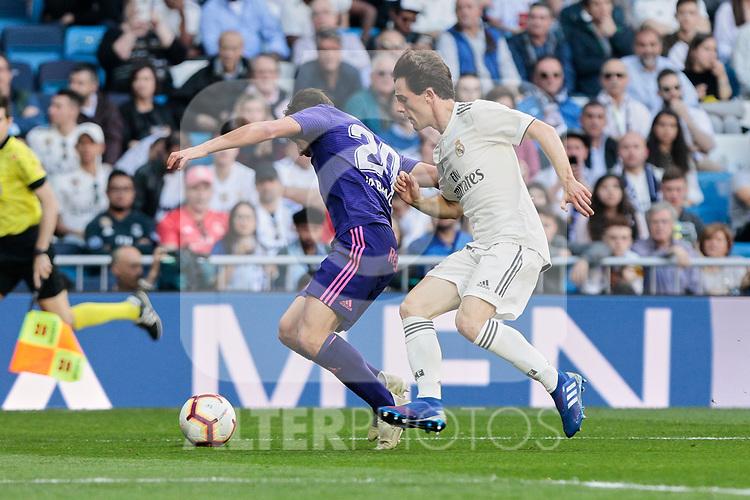 Real Madrid's Alvaro Odriozola and Real Club Celta de Vigo's Kevin Vazquez during La Liga match between Real Madrid and Real Club Celta de Vigo at Santiago Bernabeu Stadium in Madrid, Spain. March 16, 2019. (ALTERPHOTOS/A. Perez Meca)