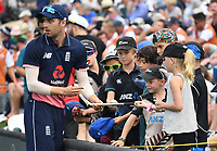England's Mark Wood signs autographs.<br /> New Zealand Black Caps v England, ODI series, University Oval in Dunedin, New Zealand. Wednesday 7 March 2018. &copy; Copyright Photo: Andrew Cornaga / www.Photosport.nz