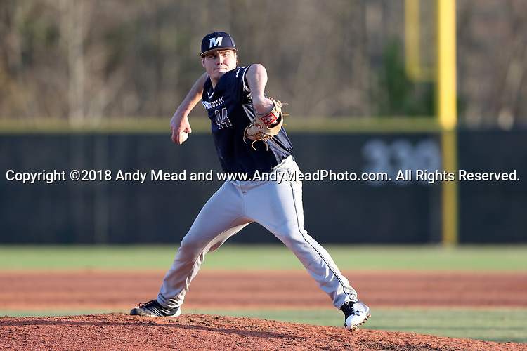 CARY, NC - FEBRUARY 23: Monmouth's Regan Dombrowski. The Monmouth University Hawks played the Saint John's University Red Storm on February 23, 2018 on Field 2 at the USA Baseball National Training Complex in Cary, NC in a Division I College Baseball game. St John's won the game 3-0.