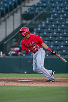 AZL Angels third baseman Bernabe Camargo (64) follows through on his swing during an Arizona League game against the AZL Indians 2 at Tempe Diablo Stadium on June 30, 2018 in Tempe, Arizona. The AZL Indians 2 defeated the AZL Angels by a score of 13-8. (Zachary Lucy/Four Seam Images)