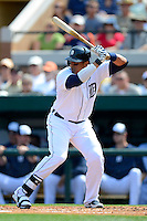 Detroit Tigers designated hitter Victor Martinez #41 during a Spring Training game against the Atlanta Braves at Joker Marchant Stadium on February 27, 2013 in Lakeland, Florida.  Atlanta defeated Detroit 5-3.  (Mike Janes/Four Seam Images)