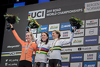 Annemiek van Vleuten (NED/Orica-Scott) is the new women's Elite iTT champion, with Anna van der Breggen (NED/Boels-Dolmans) taking silver and Katrin Garfoot (AUS/Orica-Scott) taking bronze<br /> <br /> Women Elite Individual Time Trial<br /> <br /> UCI 2017 Road World Championships - Bergen/Norway