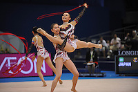 September 12, 2009; Mie, Japan;  Rhythmic group from Japan performs ropes + ribbon at the 2009 World Championships Mie, Japan.  Photo by Tom Theobald .